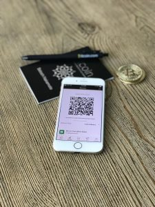 A photo of an example of FinTech and digital banking and digital currency.