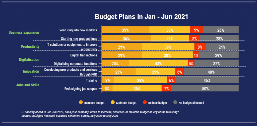 Bar chart of wholesale companies budget plans for first half of 2021 where most are investing in business expansion, productivity and digitalisation plans.