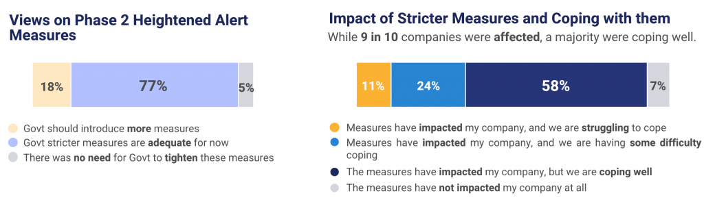 Charts showing the views of companies about the measures and their impact.